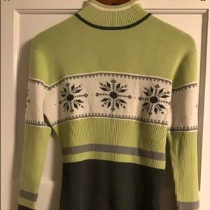 NILS Wool Sweater Green Gray  Off White Nordic Ski